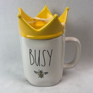 Rae Dunn BUSY bee mug with crown topper